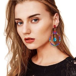 Colorful Waterdrop Pierced Earrings